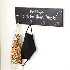 NWT Don't Forget to Take Your Mask Wall Hook Shelf